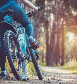 a person on a mountain bike
